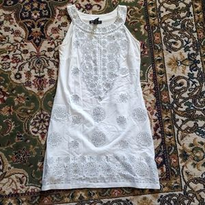 INC White Dress, Sparkly Silver Flowery Embroidery